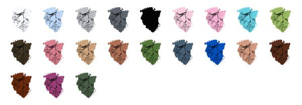 Цветовая гаммамикронизированных теней для век ColorEyes